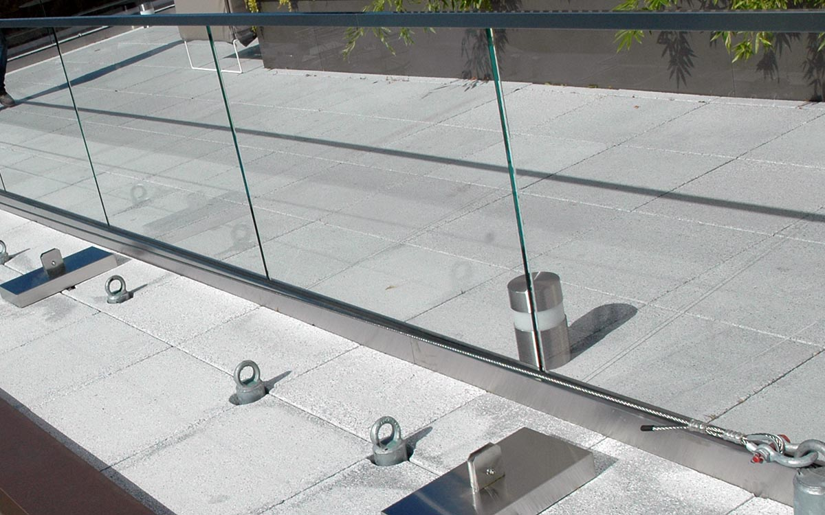Anchor pairs located at the center of window bay for safety and OSHA regulations